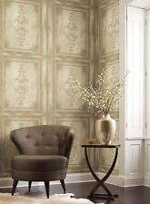 Wallpaper Designer Faux Wood Architectural Block Panel Cream Green Metallic Gold