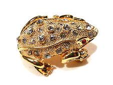 Bijou alliage doré Broche grenouille yeux cristal rouge brooch