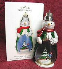 HALLMARK 2009 GLASS SNOWMAN ORNAMENT~SNOW TIME LIKE CHRISTMAS