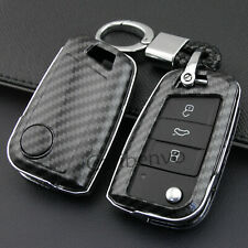 Carbon Fiber ABS Solid Car Key Keychain Cover For VW Polo Golf MK7 SEAT Ateca