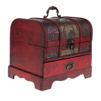 Vintage Chinese Wooden Jewelry Storage Box Treasure Chest Organizer Gift Box Red