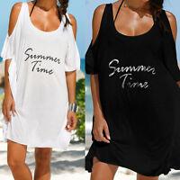 Talla Grande Mujer Informal Hombro Descubierto Vestido De Verano Playa Camisa