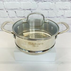 "Cuisinart Stainless Steel 7.5"" Steamer Basket Pot Insert 6116-18S w/ Glass Lid"