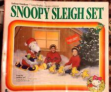 SNOOPY Santa SLEIGH SET 1989 7 Foot Long Display Inflated Plastic NIB PROP
