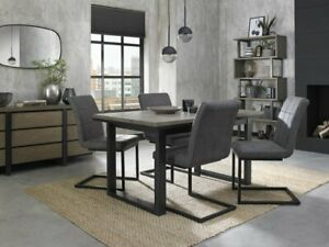 Turner Weathered Oak 4-6 Seater Dining Table with Peppercorn Legs & 4 Lewis Dist