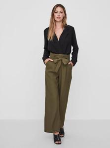 Vero Moda WIDE LEG PANTS WITH BELT IVY GREEN BNWT Size UK 8 / EU 36