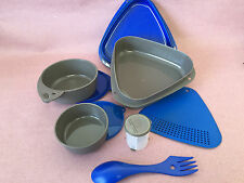 NEW 9 pc. Nesting Hiking or Camping Mess Kit Durable plastic Blue