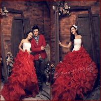 Red Train Wedding Dress Prom Gown Evening Formal Party Cocktail Ball Gown