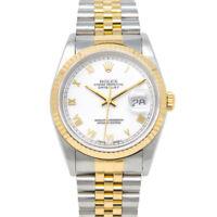 Rolex Datejust Yellow Gold & Steel White Roman 16233 Jubilee - WATCH CHEST