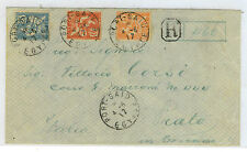 France Offices In Port Said To Italy Franked Scott 23, 24, 26  Registered 1917