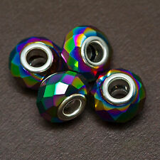Lot of FOUR (4) Faceted LARGE HOLE Glass Metallic Rainbow 14x9mm Rondelle BEADS