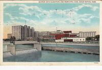 Postcard Quaker Oats Elevators + Municipal Dam Cedar Rapids Iowa IA