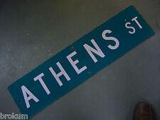 "Vintage ORIGINAL ATHENS ST STREET SIGN WHITE ON GREEN BACKGROUND 36"" X 9"""