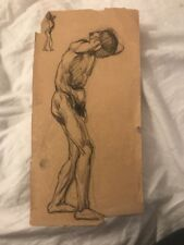 VINTAGE STUDY DRAWING OF NUDE MAN SKETCH MYSTERY ARTIST UNSIGNED