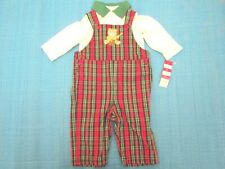 2 PCS Overall Boys Set 6 - 9 Months Red And White Color