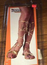 New LG 10-11.5 Women's Roman Goddess GOLD Sandal Halloween Costume Shoe Lace Leg
