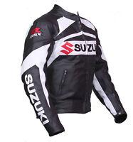 Suzuki GSXR Motorbike Genuine Cowhide Leather Biker Motorcycle Racing Jacket