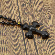 Unisex Natural Black Obsidian Carved Cross Lucky Pendant Blessing Beads Necklace