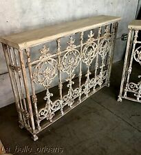 ARCHITECTURAL CAST IRON WALL CONSOLE TABLE. 19TH C BALCONY RAILING