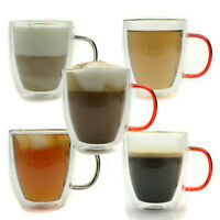 amco 2x Double Walled Borosilicate Glass Mugs for Tea, Coffee, Latte, Cappuccino