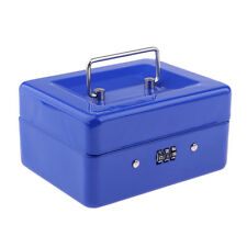 Caisse à Monnaie et Billets Boîte Métallique Portable 15x12x8 cm Bleu