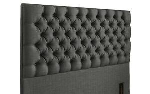 "54"" Headboard Upholstered Linen Fabric Tufted Floor Standing Headboard All Sizes"