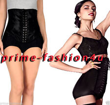 Dolce & Gabbana Black Stretch Lace Up High Waisted Dress Shorts sz 42
