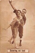 "G71/ Sports Postcard c1910 Baseball Comic ""Covering Left Field Risque 9"