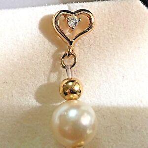 """Vintage 14k Gold 7.6mm Pearl & Diamond Earrings Heart 3"""" Long"""