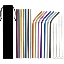 14pcs Reusable Stainless Steel Metal Drinking Straws Bent / Straight Multi-Color