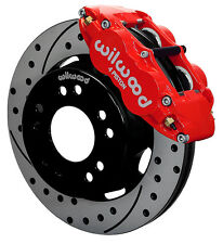 """WILWOOD FRONT DISC BRAKE KIT FOR WWE C10,C15 DROP SPINDLE,12"""" DRILLED ROTORS,RED"""