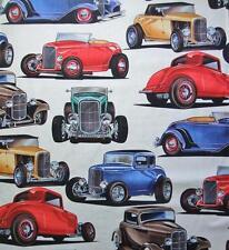 "Deuces Natural Retro Antique Car Alexander Henry Fabric 17"" Remnant"