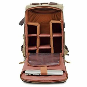 Waterproof Camera Backpack For Photographers DSLR Laptop Hiking Leather Travel