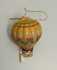 1993 Hallmark Keepsake Holiday Fliers Christmas Ornament Metal Hot Air Balloon
