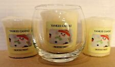 **NEW** 3 Yankee Candle Votive Candles With Holder ~FROSTED TREAT~
