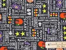 Frightful & Delightful Halloween Words Fabric by the 1/2 Yd #9899G GLOWS in DARK