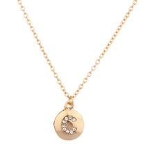 """Lux Accessories Pave Crystal Initial """"C"""" Block Letter Disc Necklace"""