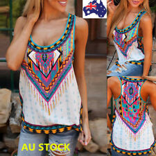 AU 6-22 Women Boho Floral Tank Tops Sleeveless Shirt Loose Vest Blouse Plus Size