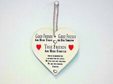 Shabby Chic Wooden Wall Hanging Heart Shaped Friendship Plaque Christmas Gift