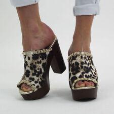 Animal Print Faux Suede Upper Material Standard (B) Width Heels for Women