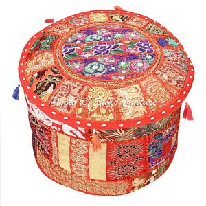 Indian Ottoman Pouffe Cover Red Furniture Patchwork Embroidered Round 22 Inch