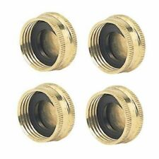 Green Thumb: Brass Garden Hose Cap with Washer (lot of 4)
