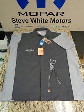New Vintage Mechanic Technician Button Shirt Ford HOS Woodie Pin up Girl Blk Lg