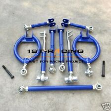 BLUE REAR CAMBER KIT+TRACTION BAR+TENSION ROD+TOE ARM FOR NISSAN 240SX 240 S13