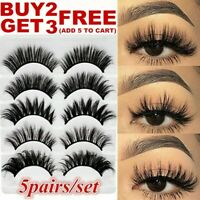 5Pair 3D Mink False Eyelashes Wispy Cross Long Thick Soft Natural Lashes