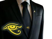 Masonic Black Woven Tie with Eye of Horus