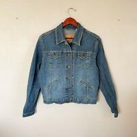Levi Strauss Size L Large Blue Denim Button Front Jean Jacket Women's
