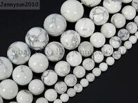 Natural White Howlite Gemstone Round Beads 15.5'' 2mm 3mm 4mm 6mm 8mm 10mm 12mm