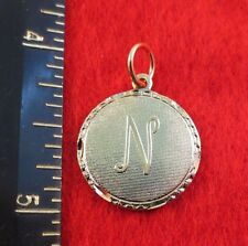 14KT GOLD EP LETTER N ROUND INITIAL DISC CHARM