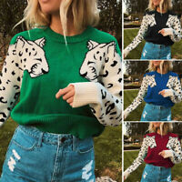 Women Animal  Patchwork O-Neck Knitted Long Sleeve Pullover Jumper Sweater CL